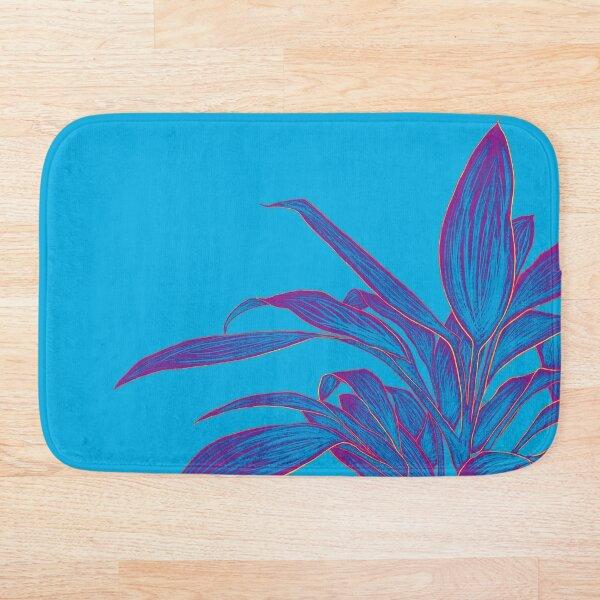 Abstract Plant Art   Blue Plant   Purple Plant Bath Mat