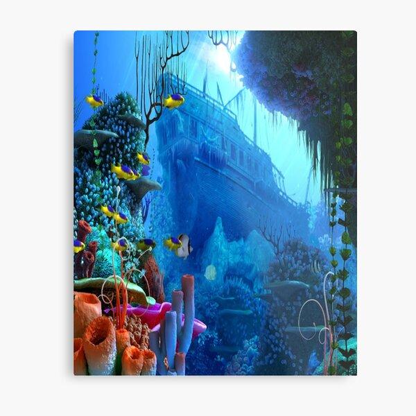 Ocean Sunken Ship Metal Print