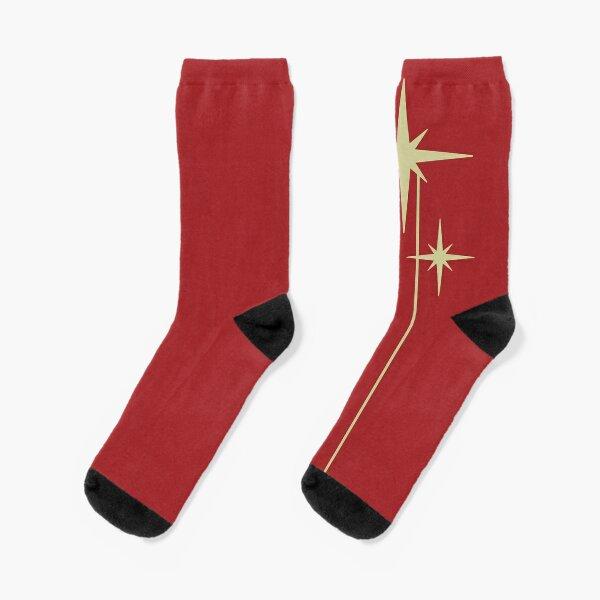 Retro Starburst Trio - Atomic Age Midcentury Modern 50s Minimalism in Yellowed Beige and Solid Red Socks