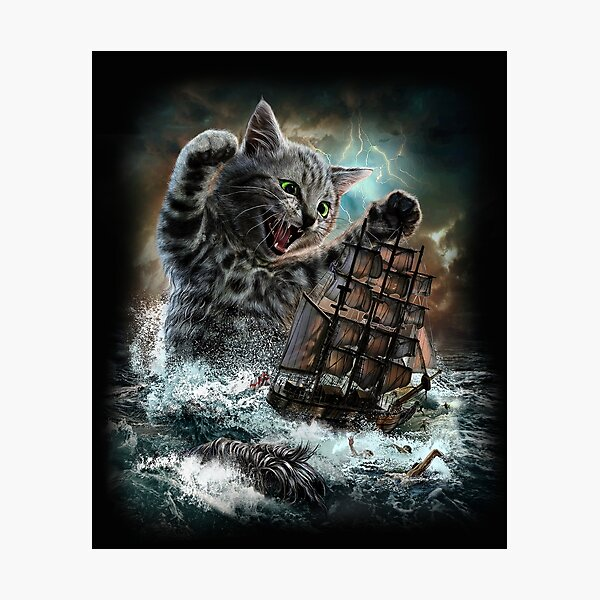 Monster Tabby Cat Ambush Battle Ship Photographic Print