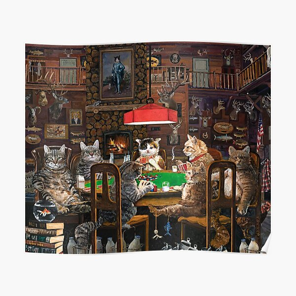 Cats Playing Poker Poster