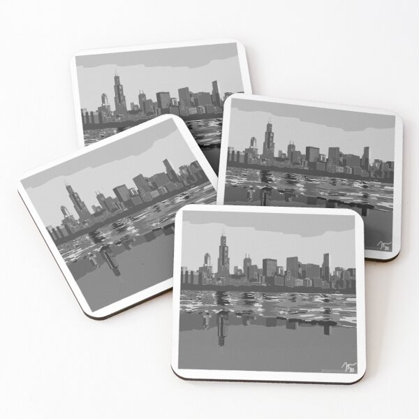 Grayscale Full Chicago Skyline Coasters (Set of 4)