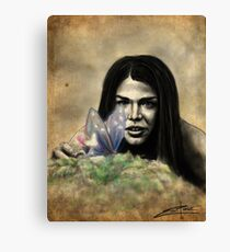 Octavia and the Butterfly (half color) Canvas Print