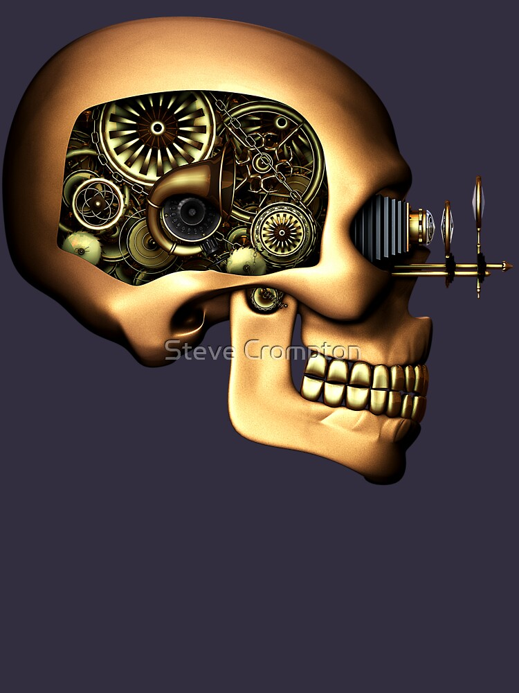 Vintage Steampunk Automaton Skull #1B by SC001
