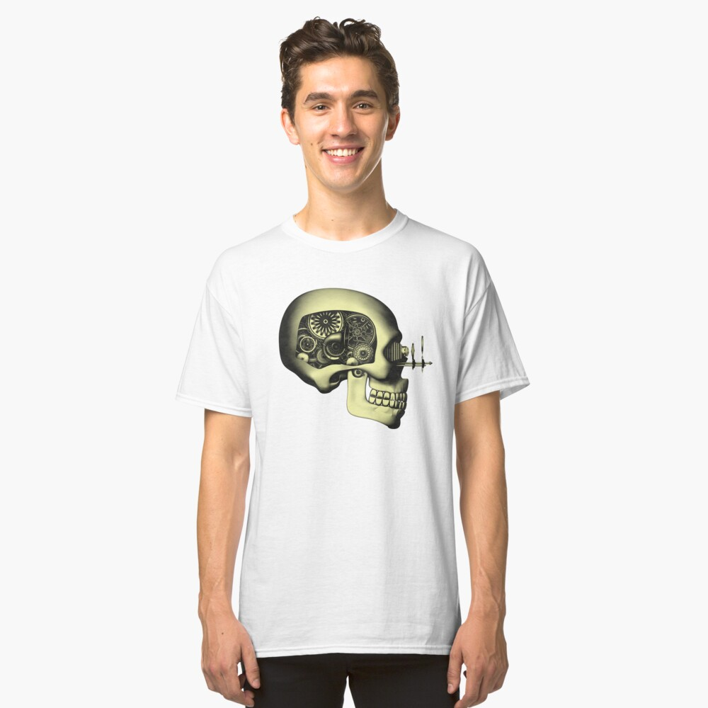 Vintage Steampunk Automaton Skull #1 Classic T-Shirt Front