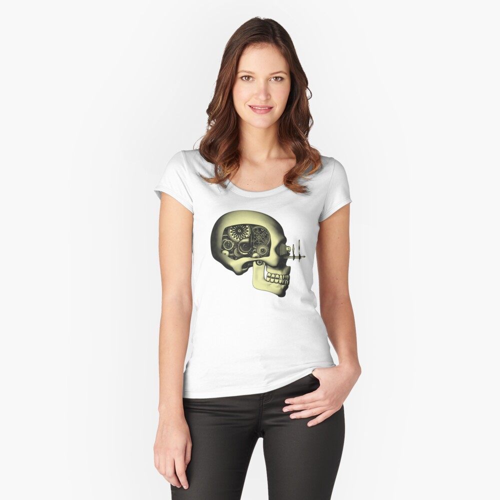 Vintage Steampunk Automaton Skull #1 Fitted Scoop T-Shirt