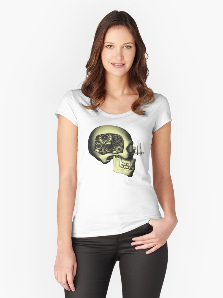 Vintage Steampunk Automaton Skull #1 Women's Fitted Scoop T-Shirt Front