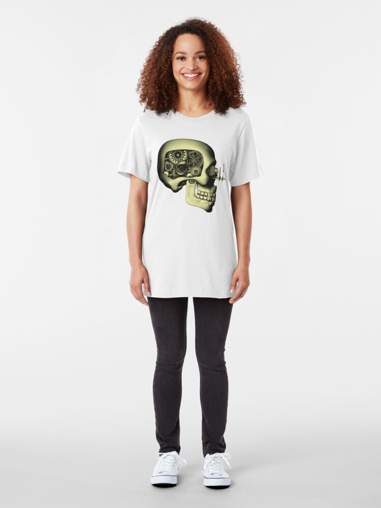 Alternate view of Vintage Steampunk Automaton Skull #1 Slim Fit T-Shirt
