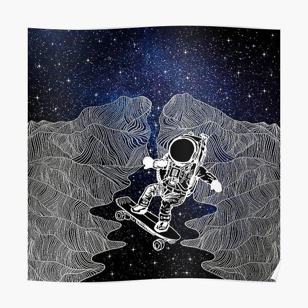 Skateboarding Space Mountains Poster