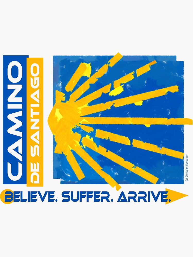 Camino de Santiago. Way of St. James. Hiking logo. by Ch-Seebauer