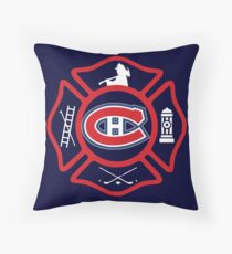 Securite Incendie de Montreal - Canadiens style Throw Pillow