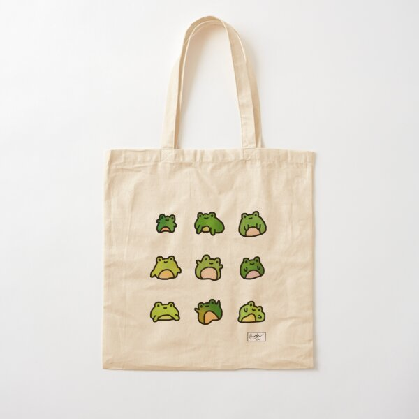 Frogs Doodle Cotton Tote Bag