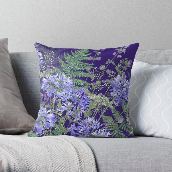 Agapanthus, Catmint, Ferns (Bracken) & Ammi Throw Pillow