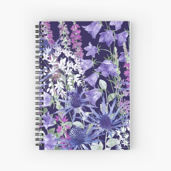 Sea Holly, Campanula, White Alliums & Purple Loosestrife Spiral Notebook
