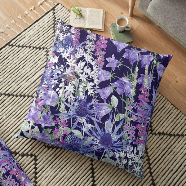 Sea Holly, Campanula, White Alliums & Purple Loosestrife Floor Pillow