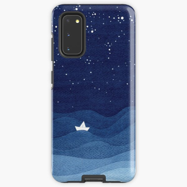 blue ocean waves, sailboat ocean stars Samsung Galaxy Tough Case
