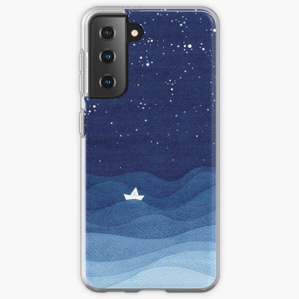 blue ocean waves, sailboat ocean stars Samsung Galaxy Soft Case