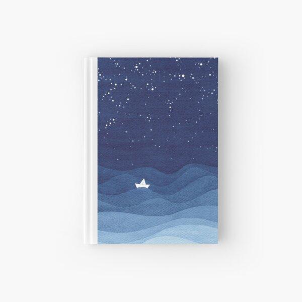 blue ocean waves, sailboat ocean stars Hardcover Journal