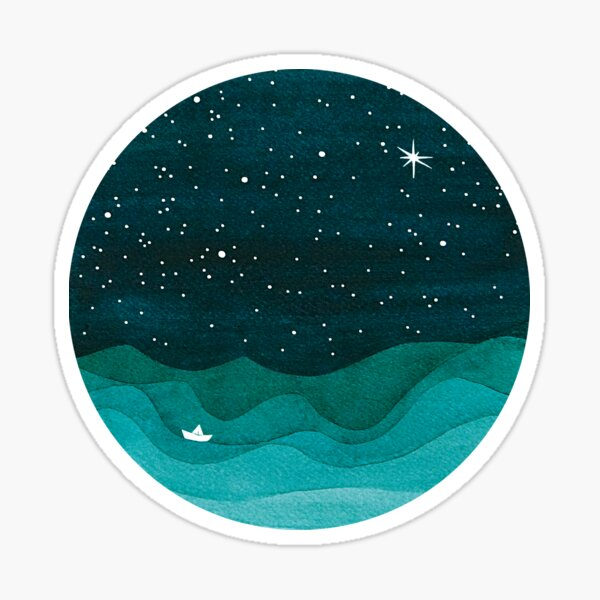 Starry Ocean, teal sailboat watercolor sea waves night Sticker