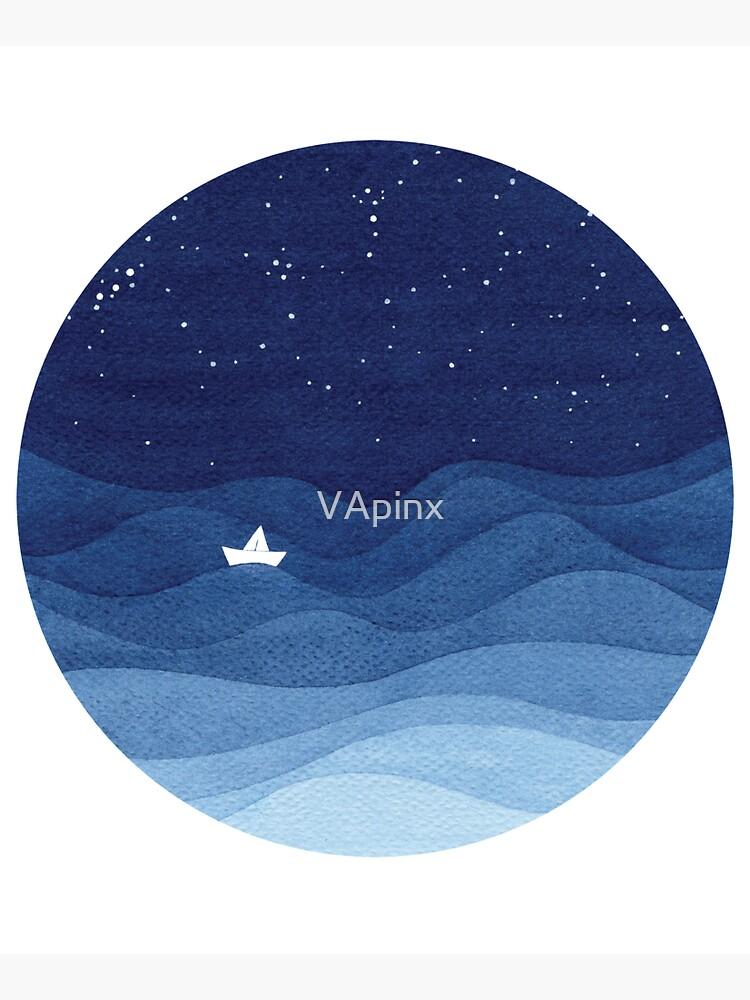 blue ocean waves, sailboat ocean stars by VApinx
