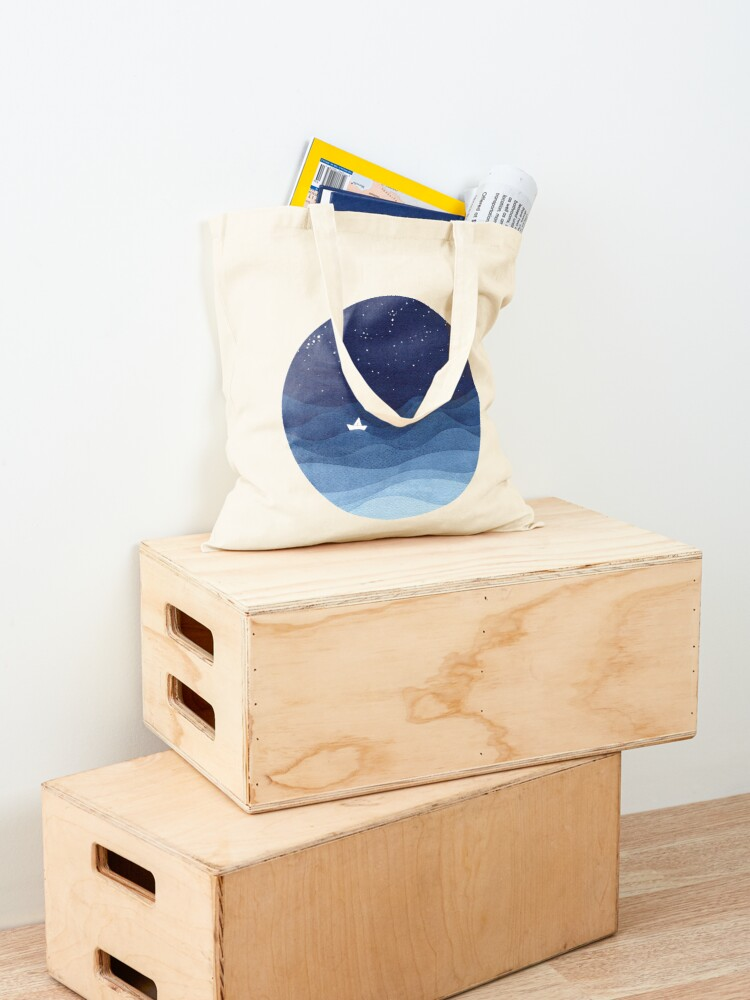 Alternate view of blue ocean waves, sailboat ocean stars Tote Bag