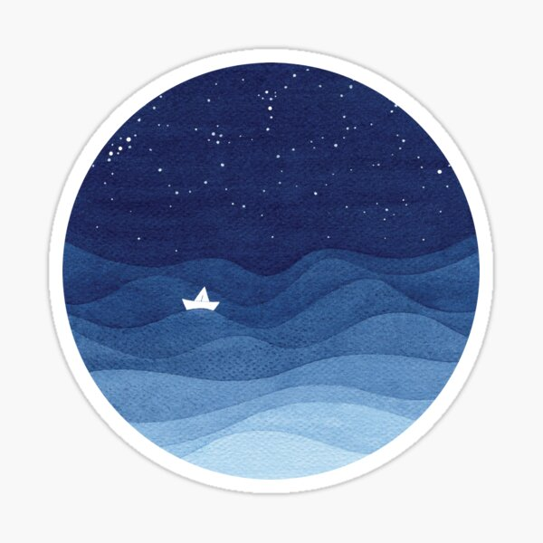 blue ocean waves, sailboat ocean stars Sticker