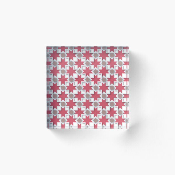 Red moroccan textile pattern Acrylic Block