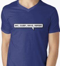 Eat, Sleep, Rave, Repeat Speech Bubble Mens V-Neck T-Shirt