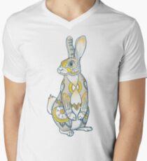 Mandala-Häschen T-Shirt mit V-Ausschnitt für Männer
