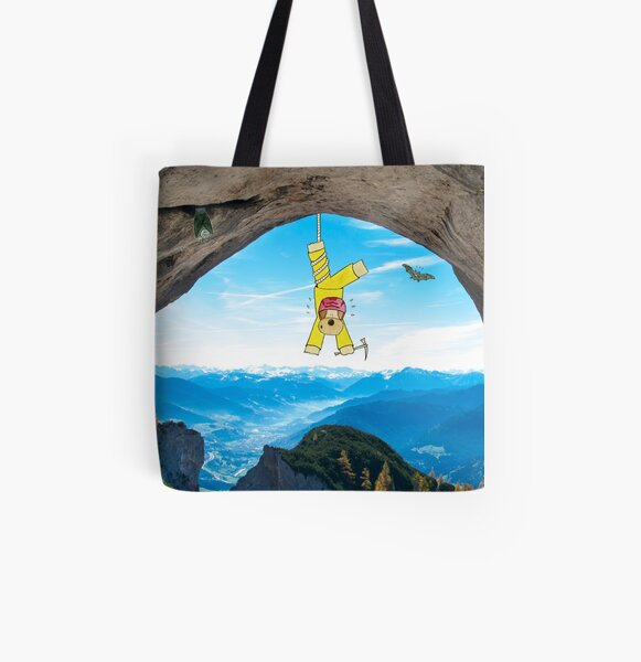 Funny Dog Illustration in Landcsape Photography - Abseiling in the Alps All Over Print Tote Bag