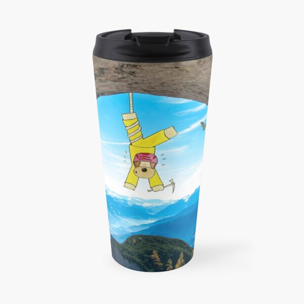 Funny Dog Illustration in Landcsape Photography - Abseiling in the Alps Travel Mug