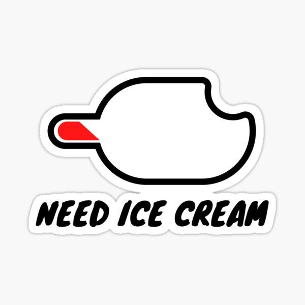 Need Ice Cream Battery Sticker