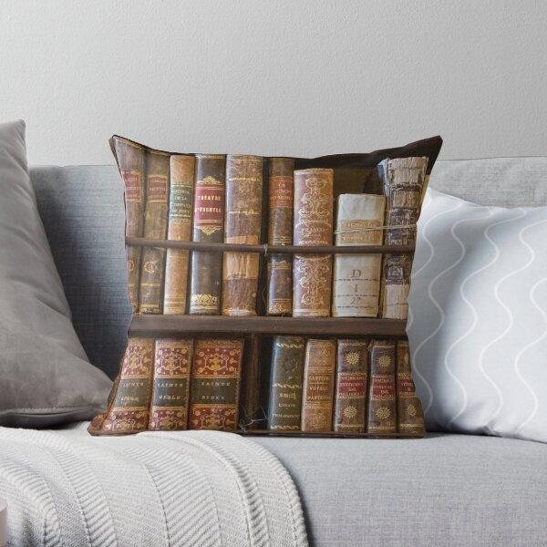 Old books on shelf Throw Pillow