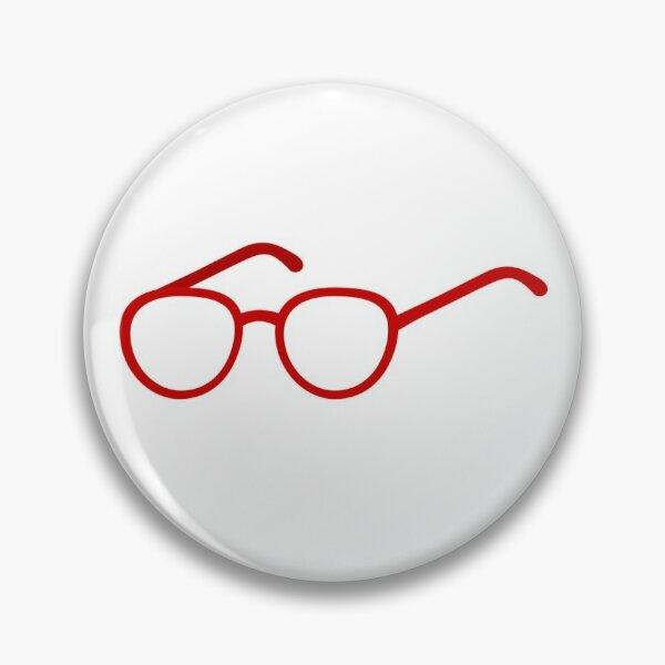 Red Round Nerd Glasses Pin