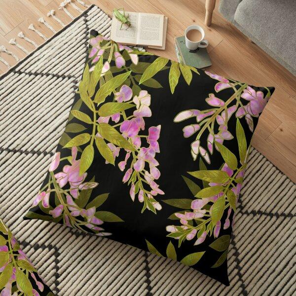 Pink Wisteria Blossom Floor Pillow