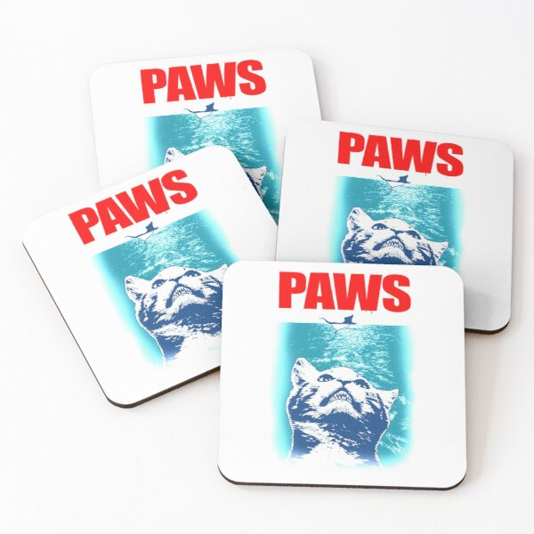 Kitty with large Jaws attacking a mouse PAWS Coasters (Set of 4)