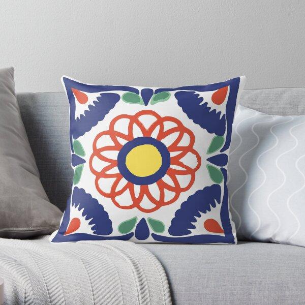 Talavera Blue Petals Throw Pillow