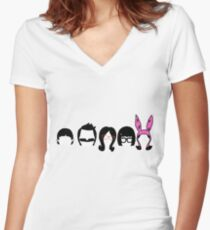Bobs Burgers Belcher Line Up Women's Fitted V-Neck T-Shirt