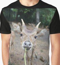Cute Deer - Eating Vegetables Graphic T-Shirt