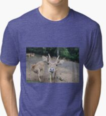 Cute Deer - Eating Vegetables Tri-blend T-Shirt