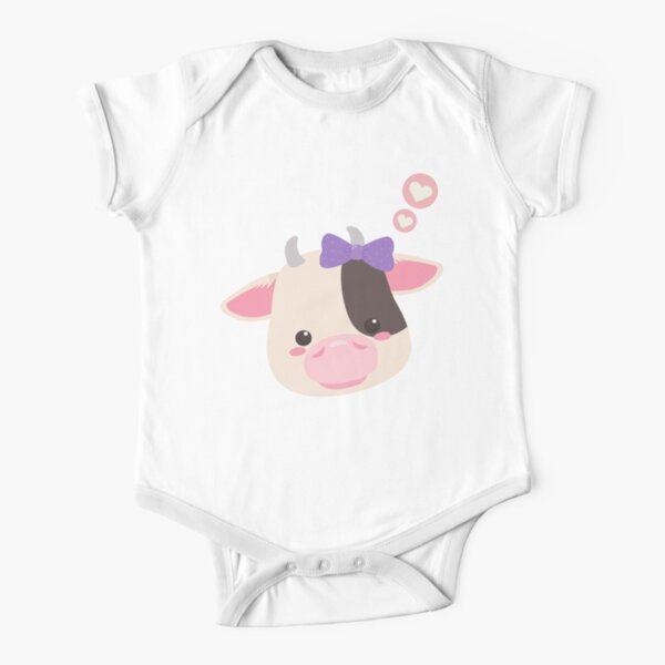 Baby Cow | Super Cute and Kawaii Pink Fluffy Trendy Design Short Sleeve Baby One-Piece