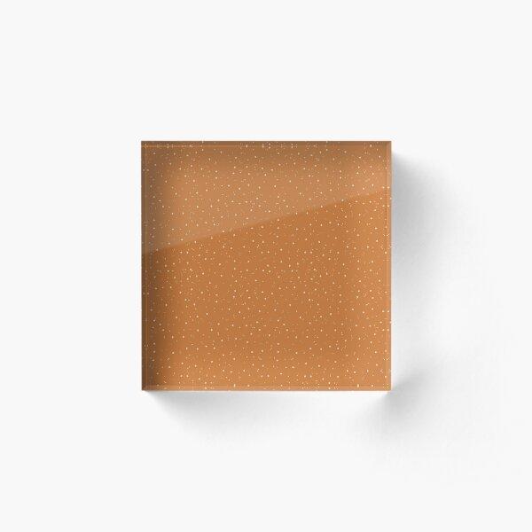 Ocher and Cream Flecks Acrylic Block