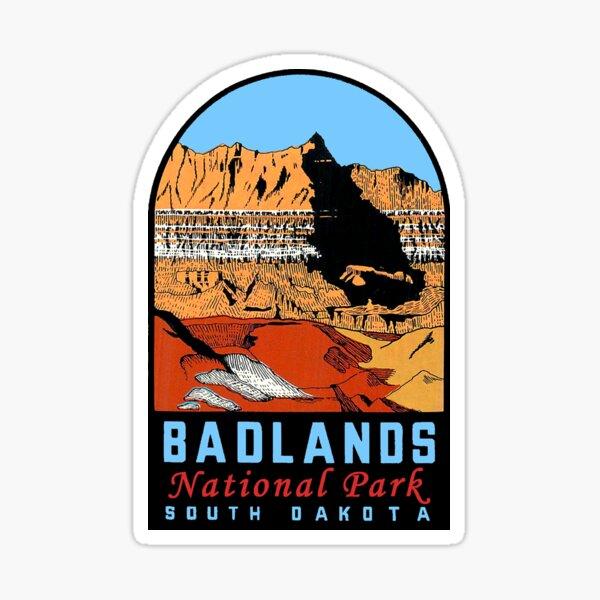Calcomanía de viaje vintage del Parque Nacional Badlands Pegatina