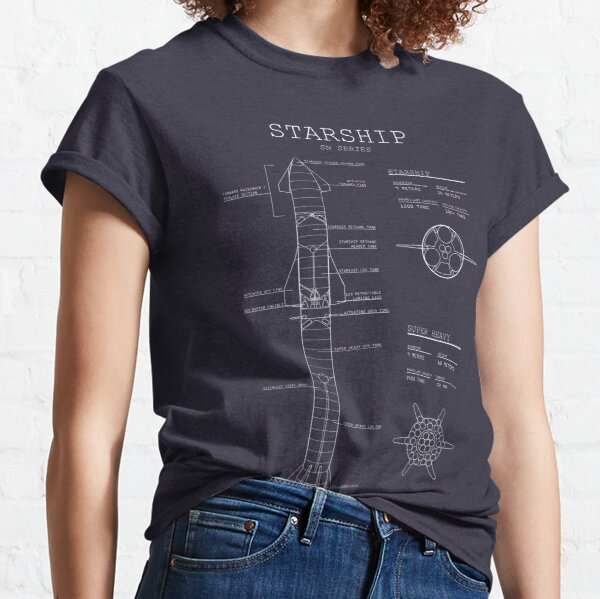 SpaceX Starship Blueprint updated  Classic T-Shirt