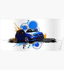 VW Golf R - Rising Blue Poster