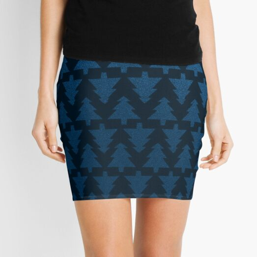 Deep blue trees Mini Skirt