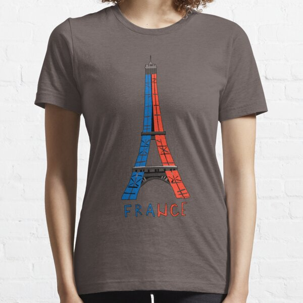 Eiffel Tower sketch with Blue and red details great Essential T-Shirt