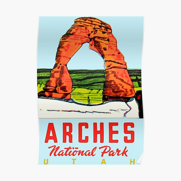 Arches National Park Utah Moab Vintage Travel Decal Poster