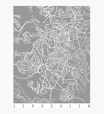 Jerusalem map grey Photographic Print