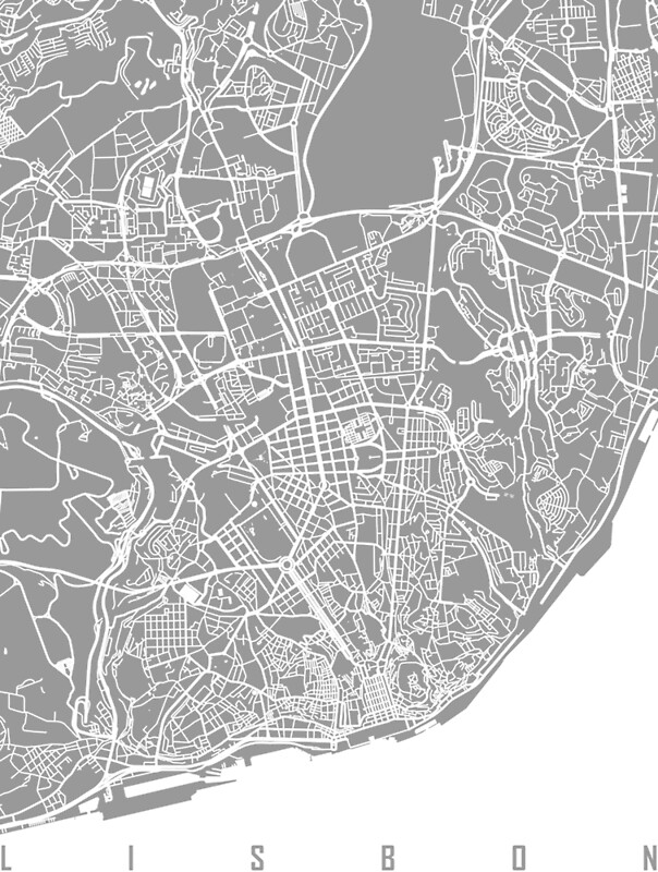 Lisbon map grey Posters by mapsart Redbubble